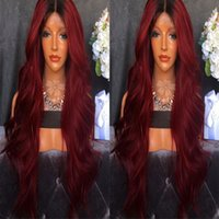 wine synthetic wig Australia - Fashional Wine Red Synthetic Lace Front Wig ombre black To Wine Red Body Wave 180%Density Glueless Synthetic Lace Front Wig Heat Resistant