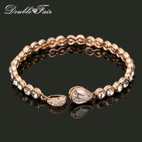 Wholesale Luxurious Diamond Bracelet - 18K Rose Gold Plated Bracelet Luxurious Water Drop Chain Jewelry Made with Genuine Austrian Crystals CZ Diamond Wholesale DFH180