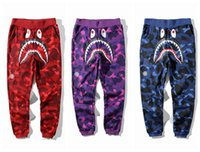 Wholesale Cotton Track Pants Men - New Teenager Hip Hop Personality Shark Mouth Camouflage Printing Casual Pants Male Hip Hop Foot Sport Sweatpants Cargo Pants for Track