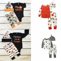 Wholesale Pumpkin Tutu - children Halloween outfits pumpkin Christmas deer printing ins Outfit Clothes Set Romper Jumpsuit romper Pants Hat 3pcs 1set KKA2418