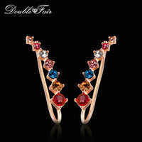 Wholesale Wing Shaped Earrings - Angel Wings Shape Multicolor Stud Earrings Cubic Zirconia Silver Rose Gold Color Fashion Crystal CZ Diamond Jewelry For Women Girls DFE527