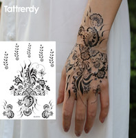 Wholesale sheet Black and White henna Fake Lace tattoo stickers Metallic temporary flash tattoos Arabic Summer Trendy new S1013B
