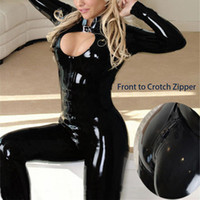 Wholesale Xxl Latex Suit - Wholesale- M-XXL 2016 Sexy Black Catwomen Jumpsuit Latex PVC Catsuit Costumes For Dance Women Body Suits Fetish Leather DS Game clothes