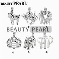 Wholesale Zodiac Sign Wholesale - 12 Pieces Wholesale Jewellery Mix Lots 18KGP Love Pearl Cage Pendant Zodiac Sign Wish Cages Lockets