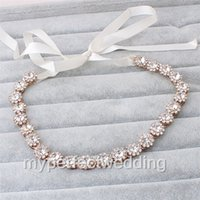 Wholesale Wedding Accessories Best Quality - New Arrival Crystal Bridal Hairband High Quality Best Price Headband with A Glass Crystals and Ivory Ribbon Wedding Bridal Hair Accessory