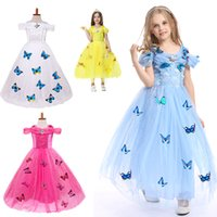 Wholesale Cinderella Dresses For Sale - Hot sale snowflake diamond cinderella dress 2017 fancy costumes for kids blue gown Halloween baby girl butterfly dress 5 Layers