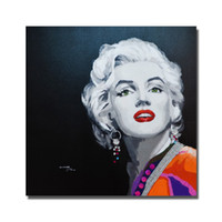 Wholesale Nude Art Oils Women - Hand painted free shippiing canvas figure oil painting famouse pop art start sexy women picture Marilyn Monroe