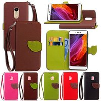 Wholesale Zte Flip Cell - Strap Leaf Flip Wallet Leather Pouch Case For Redmi NOTE4 ( NOTE 4X ) 4A Xiaomi 6 ZTE A910 A610 V7 Lite V8 Card Stand Cell Phone Cover 50pcs
