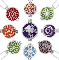 Wholesale Round Cage Necklace - Round Silver Cage Aromatherapy Essential Oil Diffuser Necklace Perfume Locket Pendant Jewelry with Chain And Pad for Xmas Gift