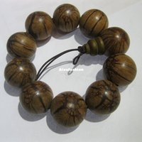 Wholesale Hand Carved Buddhas - 2.5cm Natural Wood Buddha Beads Bracelet Hand Carved Tibetan Buddhist Male Prayer Bracelet Meditation Wrist Wooden Bracelet Beaded Strands