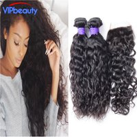 Wholesale Wet Wavy Ombre Weave - VIp beauty Indian water wave virgin hair with closure Unprocessed human hair weave 4 bundles with closure wet and wavy Indian virgin hair