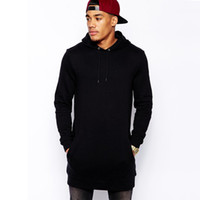 Wholesale Plus Tall - fashion mens longline hoodies men fleece solid sweatshirts Black tall hoodie hip hop side zipper streetwear extra long hiphop plus size 2XL