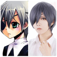 Wholesale Wigs Boy - Z&F Black Butler Cosplay Ciel Phantomhive 30CM Mixed Color Shot Synthetic Man Cosplay Party Wigs Halloween Classical Anime Wigs