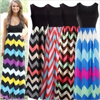 Wholesale Stripe Batwing - Bohemian Dresses Wave Stripe Dress Sleeveless Maxi Dresses Sexy Elegant Long Dress Round Collar Summer Chevron Casual Dresses Vestidos B2310