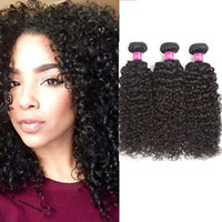 Wholesale Cheap Real Hair Pieces - Wholesale 3 pieces Malaysian Virgin Curly Hair Weave Real Human Hair Weft Extensions Cheap Bundle Hair Products Natural Color 95-100g pc(8 1