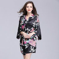 Wholesale Satin Floral Robes - Ladies Summer Silk Nightgown Summer Half sleeve bathrobes Women Floral Printed Satin Robes Plus Size Home Clothing 12 Colors