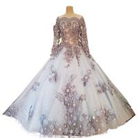 brautkleider chinesische blumen großhandel-Discount chinesischen Luxus-Ballkleid Brautkleider mit Blumenapplikationen Lange Hochzeitsgast Kleid Perlen Kristall Nizza Tüll