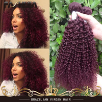 Wholesale Cheap Red Human Hair Extensions - Brazilian Kinky Curly Hair Red 99J Burgundy Wet And Wavy Human Hair Extension Cheap Brazilian Curly Virgin Hair 3 Bundles