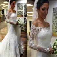 Wholesale Robe Casamento - Latest Elegant Long Sleeve Mermaid Wedding Dresses Button Back Bridal Wedding Gowns Vestido De Casamento Robe De Mariee