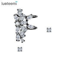 Wholesale Vintage Charm Clip Earrings - LUOTEEMI Fashion Elegant Vintage Punk Gothic Crystal Clips Rhinestone Ear Cuff Wrap 3 Parts Earrings Stud for Women Girl Party
