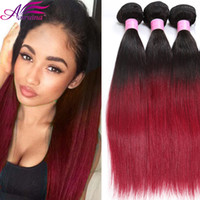 Ombre Extensions de cheveux humains Brazilian Straight Hair Two Tone 1B / BG Ombre Hair Weave Bundles Straight