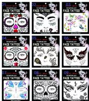 Wholesale cosplay makeup - Face Eye Terror Temporary Tattoo Sticker Waterproof Self Adhesive Paste Halloween Costume Cosplay Party Makeup Body Art