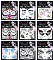 Wholesale Cosplay Tattoo - Face Eye Terror Temporary Tattoo Sticker Waterproof Self Adhesive Paste Halloween Costume Cosplay Party Makeup Body Art