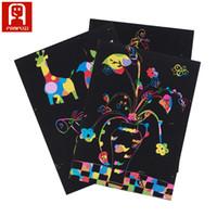 Wholesale Magic Color Scratch Paper - Non-toxic handmade DIY picture scratch art paper A4 paint by kids magic color rainbow scratch sheet