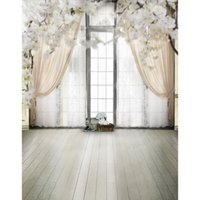 Wholesale Wood Floor Photography Backdrops - 5x7ft Vinyl Digital Indoor White Curtain Window Wood Floor Photography Studio Backdrop Background