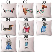 """Wholesale Knitted Seat Cushion - Square 18"""" Cotton Linen Cute Dachshund Dogs Office Chair Back Waist Cushion Cover Fashion Couch Seat Pillow Case"""