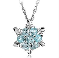 Wholesale frozen jewelry online - Blue Crystal Snowflake Pendant Necklace Silver Pendant Necklace Frozen Style Snow Women Christmas Birthday Gift Jewelry