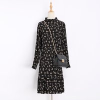Wholesale Chiffon Multi Way Dress - Hot Selling New Fashion New Women's Spring hot style dress to restore ancient ways printed long-sleeve floral chiffon pleated skirt
