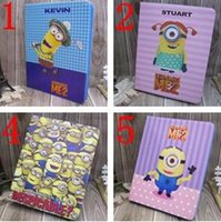 Wholesale Despicable For Ipad - Despicable ME2 Minion Cartoon PU Leather Flip Stand Smart Cover Wallet Case for ipad Mini 4 ipad 234 5 air 6 air2