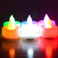 Wholesale Tea Light Candles Free Shipping - Flickering Battery Operated LED Candle Tea light Candles Flameless Smokeless Romantic Suitable Waterproof Candle Light free shipping