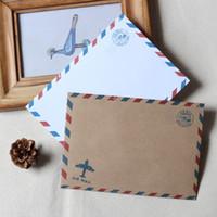 Wholesale Airmail Postcard - Wholesale- A6 Airmail Envelopes 50 pcs   Retro Brown Envelopes   Wedding invitation envelopes without postcard