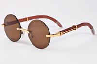 weißer runder rahmen großhandel-12 Farbe randlose Weiß Gold Buffalo Horn Glasrahmen Gläser Holz Sonnenbrille Kreis Runde Sonnenbrille Frauen Strass Sonnenbrille Männer