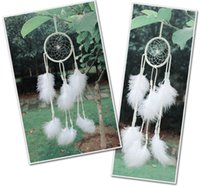Dream Catcher Circulaire Net Clear Bead White Plume Circulaire Net Car Room Wall Hanging Décoration Party Wedding Ornament Gratuit DHL B954L