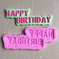feliz cumpleaños molde de pastel de silicona al por mayor-DIY Feliz Cumpleaños de Silicona Fondant Cake Caramelo de Chocolate molde de silicona Molde Para Hornear Herramientas ZH821