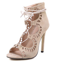 Summer Women Pumps Lace Up Strappy Open Toe High Heels Hollow Out Ankle Botas de verão Sandálias de salto alto Wedding Zapatos 11 cm Heel
