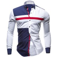 Wholesale British Dress Shirts - British Style Men's Dress Shirts Long Sleeve Turn Down Slim Fashion Leisure Clothing Men Trendy Patchwork Shirts Spring Fall Tops M-XXL
