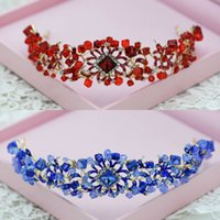 ingrosso blu corona tiaras-Brand New Wedding Accessories Nuziale strass Crystal Crown fasce Tiara copricapo Hairband Pageant Prom Head gioielli blu rosso al dettaglio