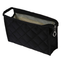 Wholesale Smallest Make Ups - Wholesale- Black Grid Pattern Cosmetic Make Up Small Zippered Bag