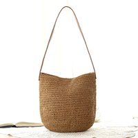 Wholesale Plain Straw Beach Bag - 2017 new women simple woven bag holiday beach bag shoulder bag