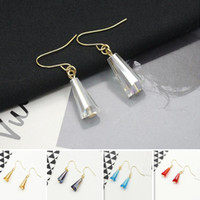 Coreano Waterdrop Diamond Phombus Earrings Gold Plated Fish Ear Hook Tibetan Silver Chandelier Earring 6 cores