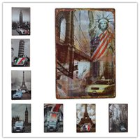 Wholesale posters eiffel tower - Eiffel Tower Statue of Liberty Big Ben Car Metal sign home Bar Pub Hotel Restaurant Coffee Shop home Decorative Retro Metal Poster Tin Sign