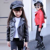 Wholesale Children S Coat Jacket - 2017 New Children Leather Jackets Spring & Autumn Kids Solid Turn-down Collar Coats PU Clothes for Girls,