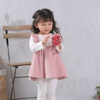 Wholesale 2pcs Dress Set Pink White - Toddler kids Autumn outfits baby girls bows ribbon white shirts+Falbala suspender pleated dress 2pcs sets Infants cute Clothing C1481