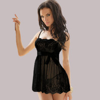 Wholesale Sexy Babydolls Plus Size - Vintage Lingerie Sexy Sleepwear Negligee Nightgown BabyDolls Sleepshirts For Women 2 Colors Available XL XXL Plus size