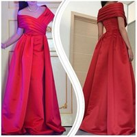 Wholesale floor carpet squares - 2018 Red Formal Dresses Evening Wear Off the Shoulder Capped Sleeves Ruched Satin Long Elegant Gowns Prom Dress