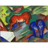 pinturas a óleo animais abstratos venda por atacado-Pinturas a óleo handmade por Franz Marc Cavalo Vermelho e Azul arte abstrata animal decoração de Parede de alta qualidade